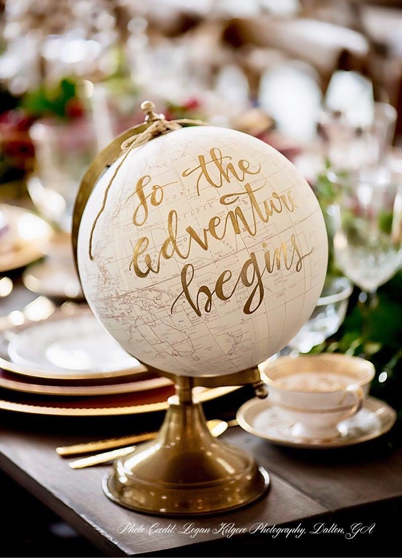 Custom Wedding Guestbook Calligraphy Globe  Choose Wording  White and Gold Globe or Whitewashed Options  Wedding GuestbookNursery Globe