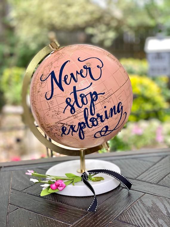 BLUSH PINK Globe on Marble Stand /Travel Theme Nursery/Wedding - Blush Pink & Gold Globe w/Black, Gold, Gray other color ink/custom wording