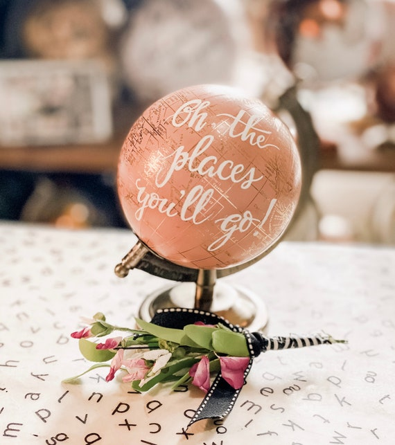 Mini Blush Pink And Gold Globe OR Mini White and Gold Globe  - Perfect for Baby Girl Nursery, Baby Shower or Girl's Travel Theme - Customize