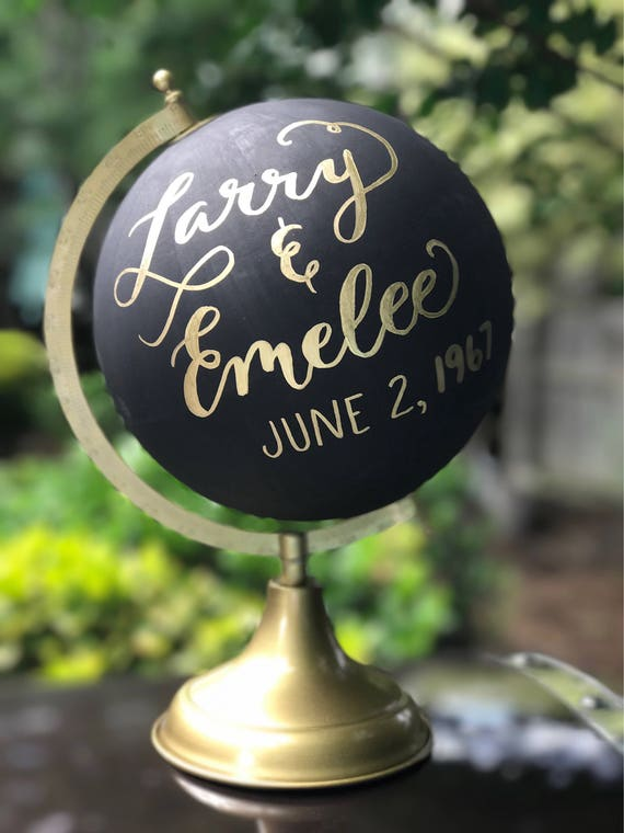 Wedding Guestbook Calligraphy Globe / Black Chalkpainted Globe / Gold Calligraphy Globe / Choose Wording / Wedding Guest Book Globe /Nursery