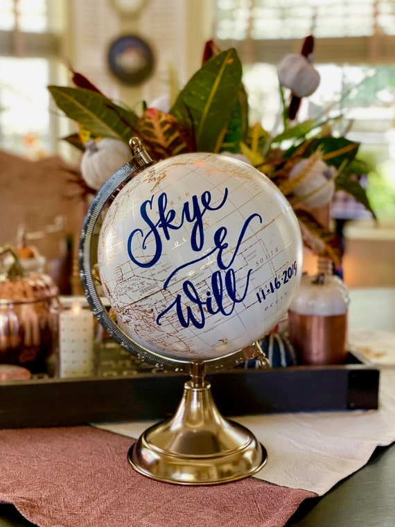 Custom Wedding Guestbook Globe / Choice of Wording / Globe Finish in White and Gold Globe or Whitewashed Options / Wedding Guestbook/Nursery