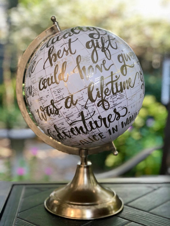 Blush Pink Baby Girl Nursery Globe/Travel Theme Nursery/ Blush Pink & Gold Globe w/Gold, Gray or other color ink / custom wording