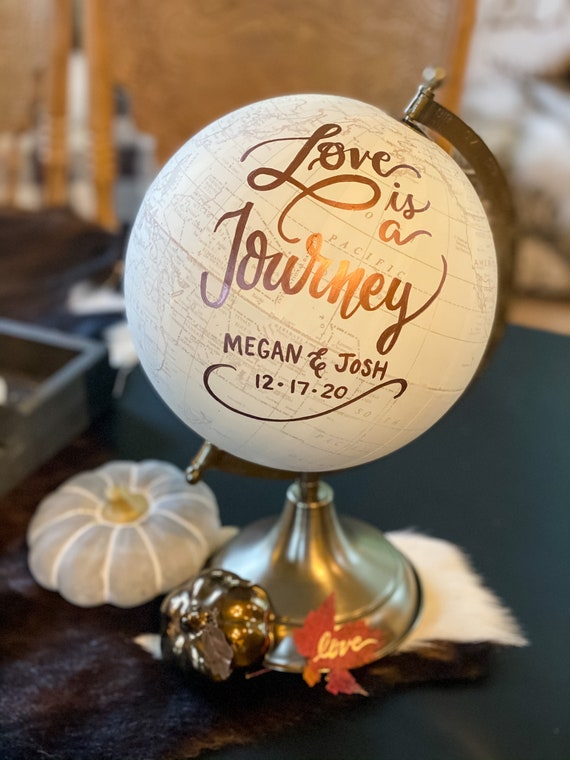 Custom Calligraphy Wedding Guestbook Globe / Choose Wording / White and Gold Globe or Whitewashed Options / Wedding Guestbook /Nursery Globe