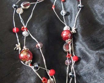 3 strand bead and crystal necklace