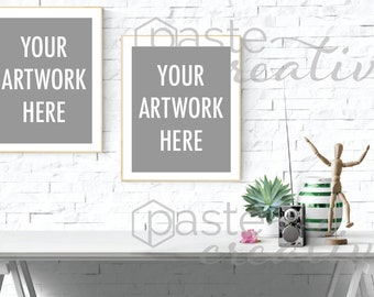 Download Free styled stock image - frame | green and white, radio, vase, two frames, poster mockup, frame mockup, stock photography, digital image PSD Template