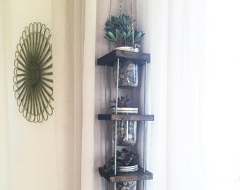 Mason Jar Hanging Planter and Storage, Dark Stain