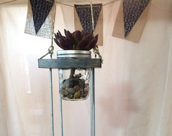 Hanging Mason Jar Herb Garden 2 Tiers
