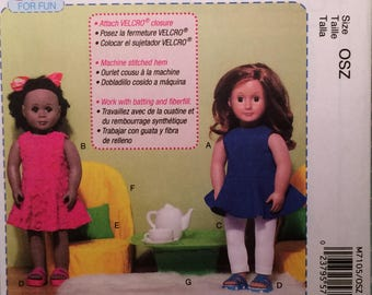 """McCall's Beginner M7105 18"""" Doll Clothes Sewing Pattern"""