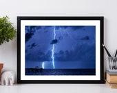 Florida Thunderstorm, Electrical Storm, Fort Lauderdale Lightning Strike, Lightning photography print, fine art,  weather decor