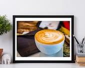 Cappuccino, Kitchen wall decor, coffee wall decor, coffee photography, wall decor print, still life food art, Fine Art Coffee Print