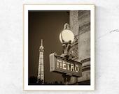 Paris Metro Sign, Paris Photography, Fine Art Photograph, French Home Decor, Wall Art, Paris Print