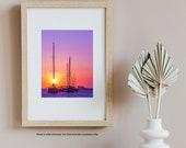 Beach Wall Art, Sailboats, Pastel Sunset Beach Print, Florida Photography Print, Living Room Wall Art, Sunset