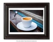 Coffee cup, espresso, coffee wall decor, coffee photography, wall decor print, kitchen Art,  home decor
