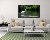 """Roseate Spoonbill Photo,  Minimalist nature photography, Florida Nature Print, """"Wading Roseate Spoonbill"""""""