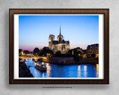Notre Dame de Paris Print, Notre Dame Cathedral, Paris Photography, Travel Photography Print, Paris Skyline, Large Wall Art
