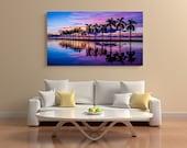 Panoramic Florida Photography, Large Wall Art Print, Water Landscape Photography, Fine Art Print,Miami Sunset