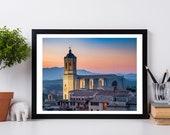 Spain photo,  Girona photo, Spanish architecture ,Fine Art Photography Print, Spain,Granada, Dusk, Night Sky, Blue Hour