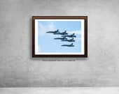 Blue Angels jets, United States Navy, military jets, man cave decor, gift for him, patriotic home decor, airshow plane print, wall art