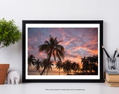 Miami Beach Photography, Sunset at Miami Beach, Palm Tree Ocean Print, Beach Decor, Florida Landscape Photography, Palm Tree Dream