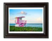 Pink Wall Decor Beach Hut, Miami Art Deco Lifeguard Stand Coastal Art Print