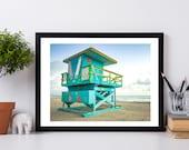 Beach Wall Art Photography Prints, Miami Coastal Decor,  Lifeguard Stand, Miami Beach Photography