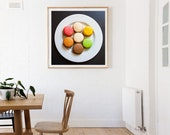French Macarons/Macaroons in Paris, Fine Art Photograph of green, pink, orange, brown, and purple macarons