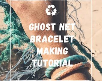 Recycled Ghost Net Bracelet Instructions Download - Zero Waste - Unisex Surf Bracelet Tutorial - Upcycled Bracelet Digital PDF