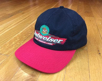Vintage Budweiser hat 90s Budweiser hat budweiser made in usa hat anheuser  busch classic american lager budweiser spellout snap bud heavy 679b347c59d2