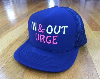 893e349fdfb Vintage In   Out urge trucker hat snapback navy structured pump thrust fuck  pink blue porn intercourse ironic red cap novelty rude funny sex