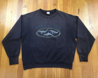 644a1cb976d Vintage Virginia Dolphins sweatshirt size L black faded distressed ocean  sea va richmond virginia beach chesapeak tidewater coastal marine