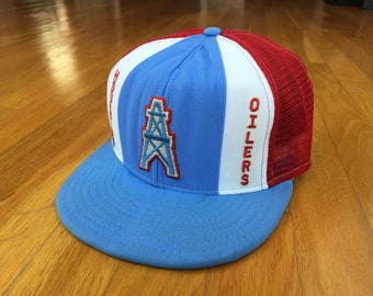 8c6fd1e3660 Vintage Houston Oilers hat oilers trucker hat 90s 80s double knit nylon  tennessee titans lucky stripes ajd patch afl nfl texas snapback