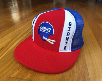 078940fa303 Vintage NY Giants hat New york giants trucker hat 90s 80s double knit nylon  new york city lucky stripes ajd patch afl nfl NYC snapback