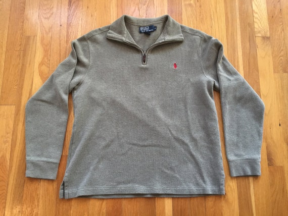 a4a002304 Vintage Polo by Ralph Lauren 1 4 zip size M olive drab red