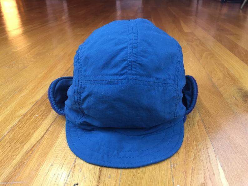 Vintage Lands End trapper hat duck bill ear flap fleece lined made in usa blue hat 90s lands end hat vintage lands end hat vintage hunting