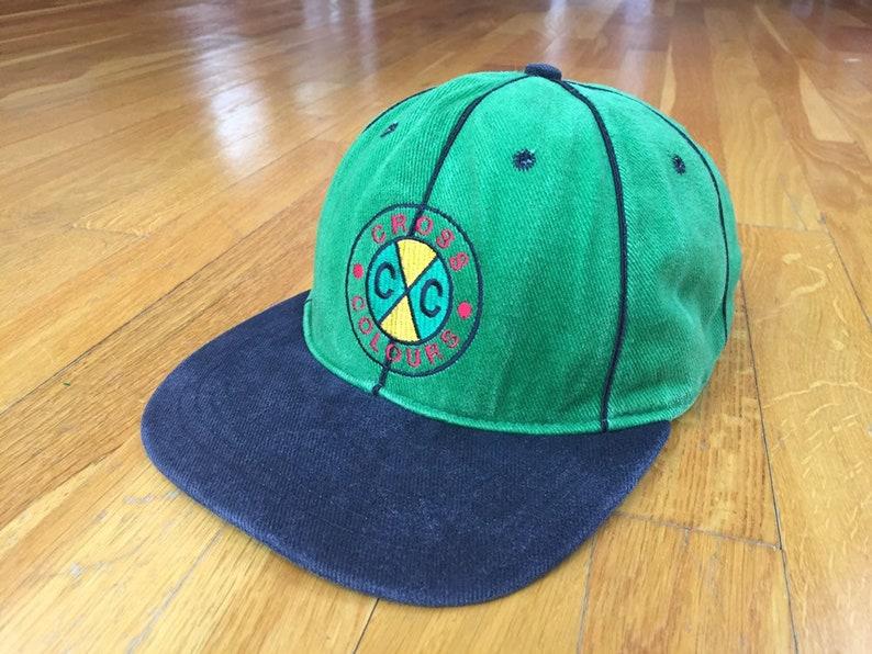 Vintage Cross Colours Snapback Hat Colorblock Green Black