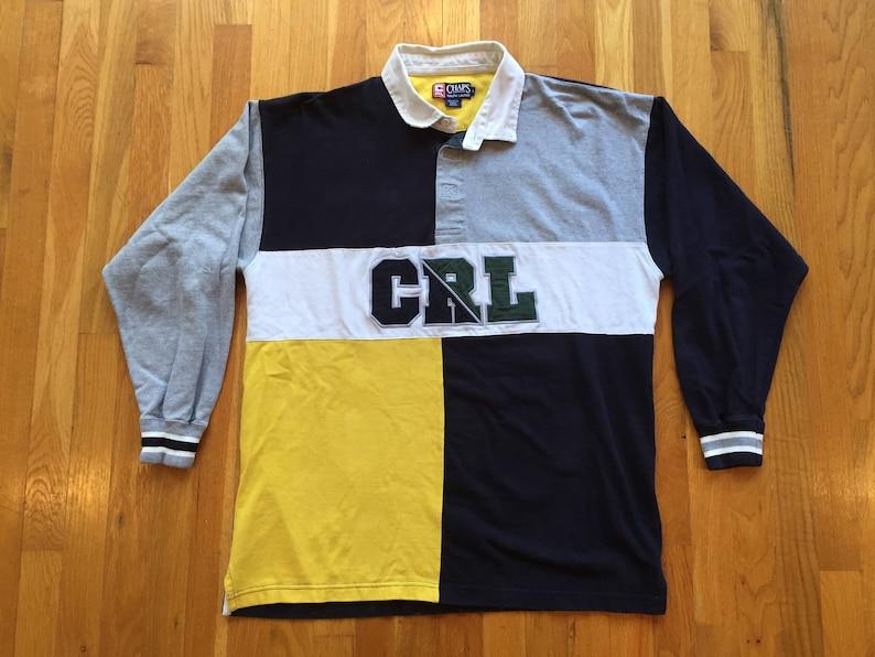 ec5675938d Vintage 90s Chaps Ralph Lauren rugby size L longsleeve polo | Etsy