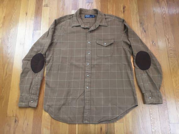 Elbow lTan Prl Lauren Flannel Shirt Brown Leather Lumberjack Pads Beige Plaid Western Polo Suede Size 90s Khaki Ralph Xl Vintage vn0wOmN8