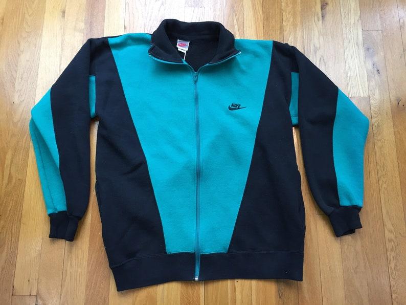60df6d4c0acf Vintage 90s Nike sweatshirt size L black teal blue scuba full