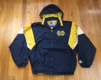 Vintage University of Michigan Starter jacket size L navy blue yellow white ann arbor football sports college wolverine full zip colorblock