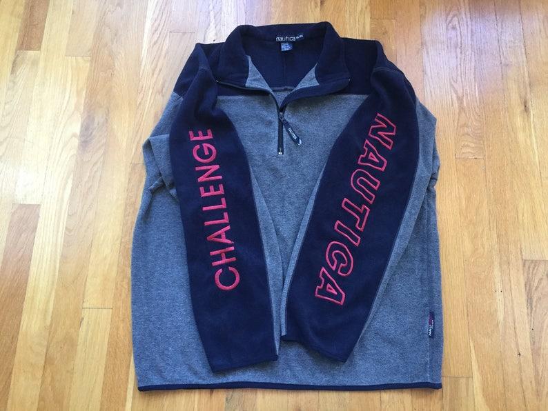 65855bd25b6 Vintage 90's Nautica Challenge 1/4 zip fleece sweatshirt anorak size XL  grey navy sleeve embroidery Nautech fleece