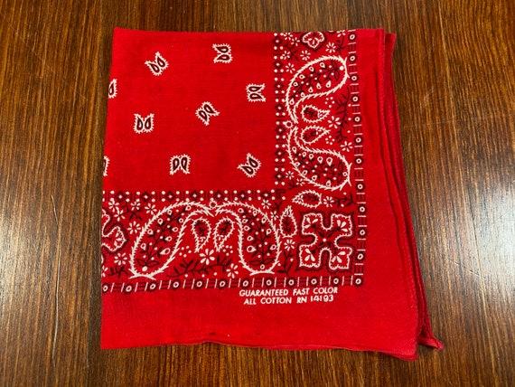 Vintage Red Bandana 70s bandana guaranteed fast co