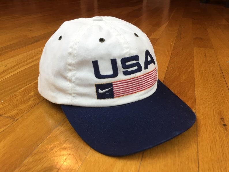 4b262ab9cbc Vintage Nike USA hat 90s nike hat nike white tag snapback nike