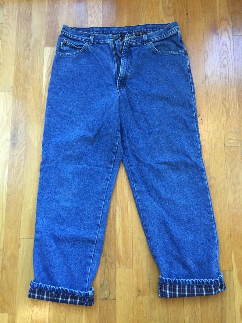 69351d4c Vintage L.L. Bean flannel lined jeans Double L Relaxed Fit | Etsy