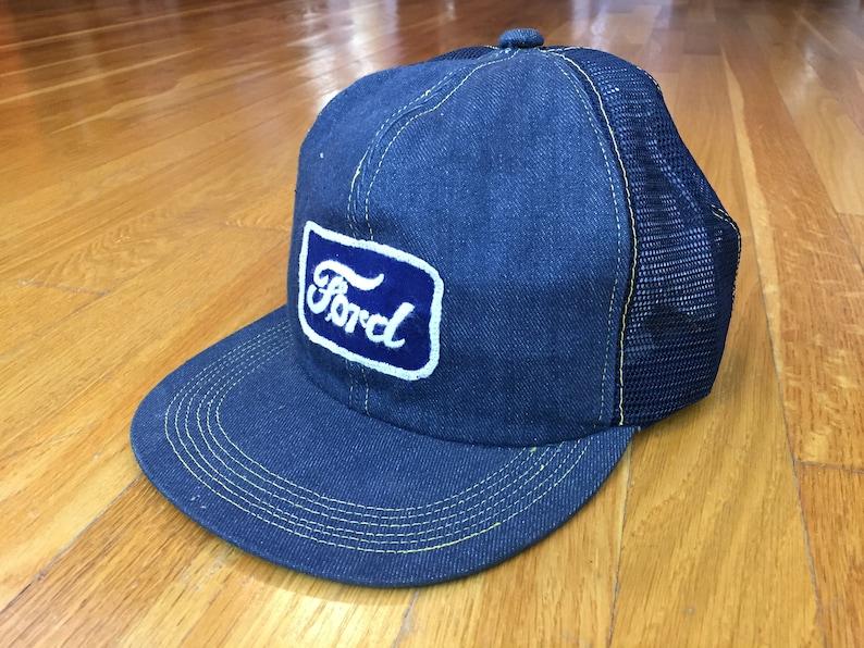 6713f1803 Vintage Ford hat 80s Ford denim hat ford trucker hat ford patch hat true  vintage ford cap ford truck built ford tough ford denim trucker hat