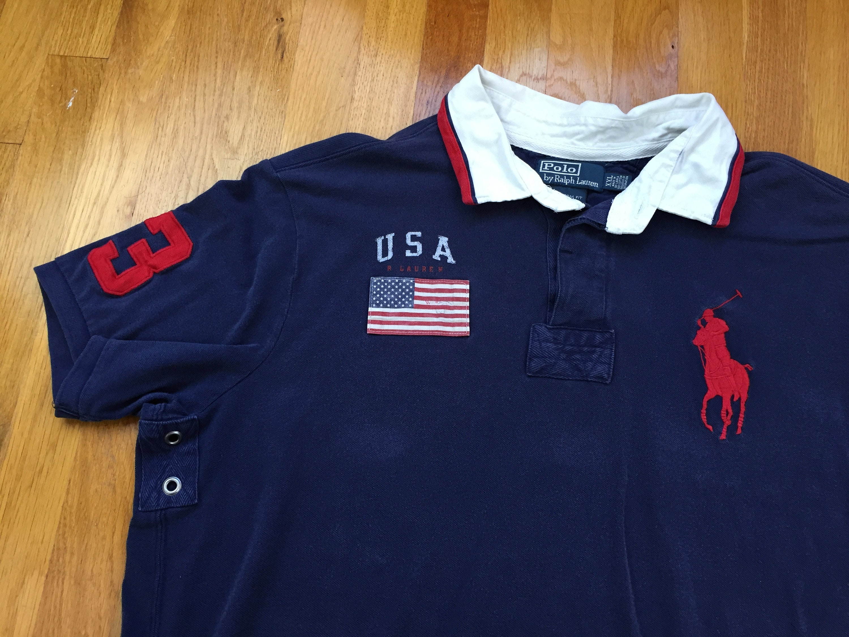 Vintage Polo Usa Rugby Shirt 90s Polo Ralph Lauren Usa Flag Etsy