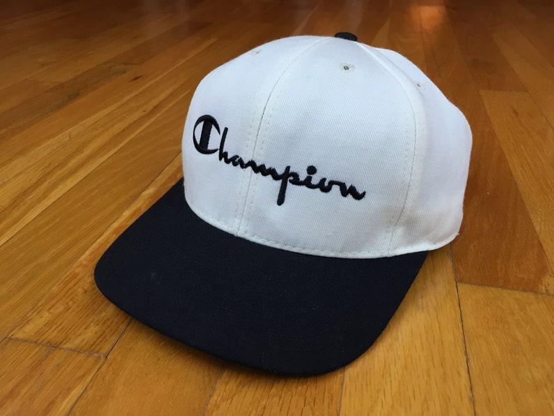 d70ddf45284 Vintage Champion hat 90s Champion snapback champion spellout
