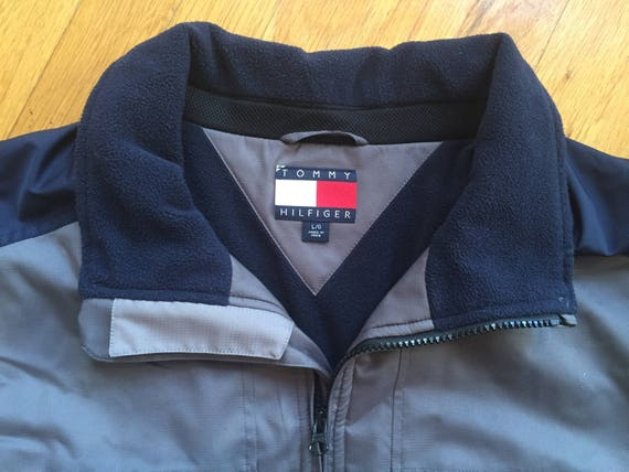 Vintage Tommy Hilfiger winter jacket size L(XL) grey tech summit coat snowboard minimal trans 90s style jackets
