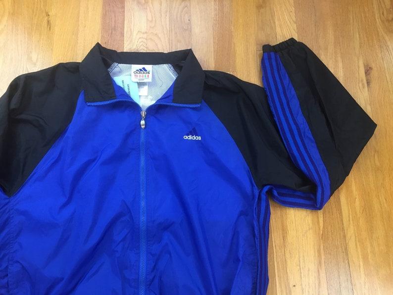 Vintage adidas windbreaker jacket 90s adidas jacket adidas coat full zip navy blue trefoil triangle pyramid colorblock color blocking sport