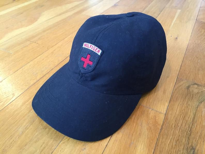 3a56f3d5a7da Vintage Tommy Hilfiger dad hat black leather strapback crest