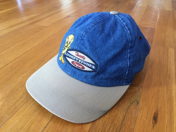 Vintage Tweety denim dad hat scrunchy back looney toons  d177ee2891ce